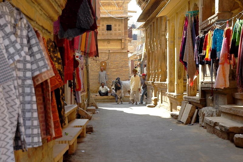 Streets of Jaisalmer City, Rajasthan, India.