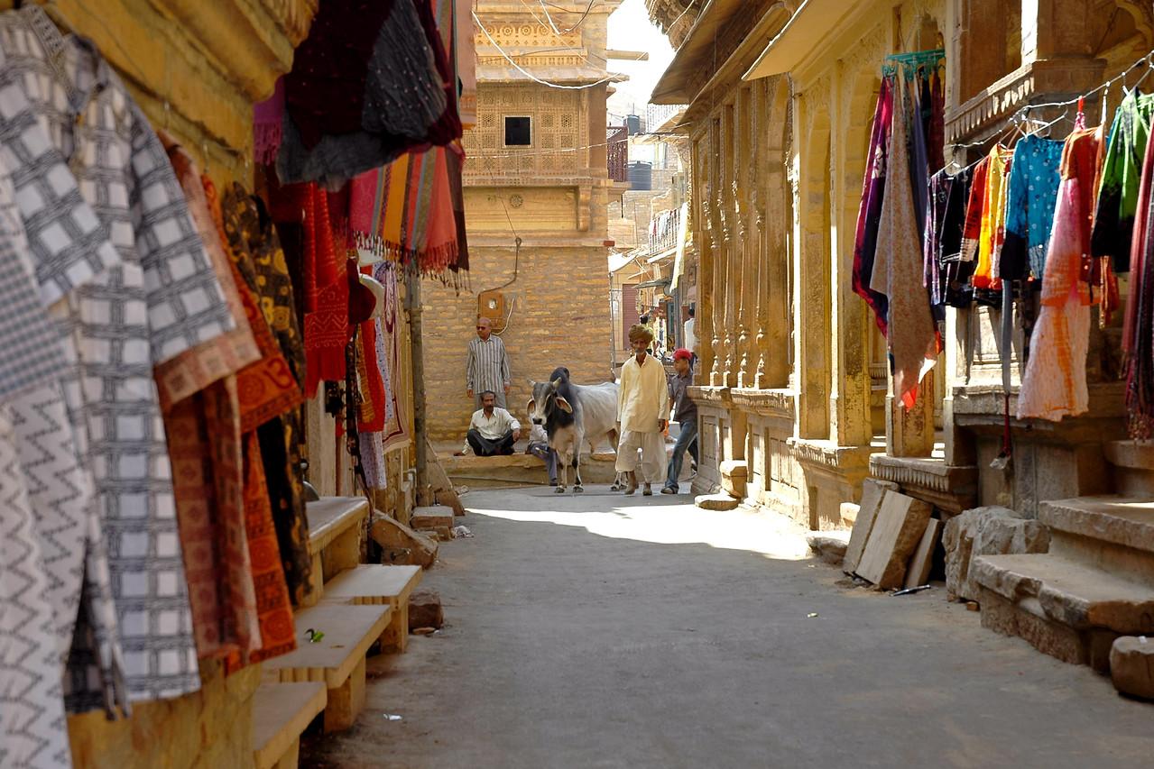 Streets of Jaisalmer City, Rajasthan, India.