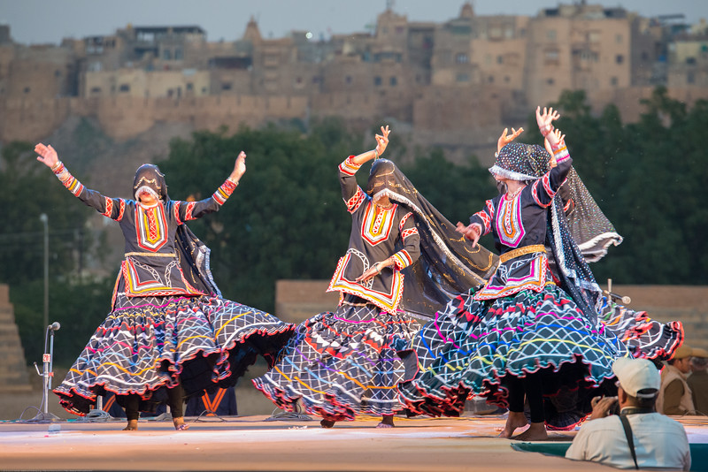 Desert Festival Of Jaisalmer, also known as Rajasthan Desert Festival attracts visitors from all over. It is held in the Hindu month of Magh (February), three days prior to the full moon. Jaisalmer, Rajasthan, India.