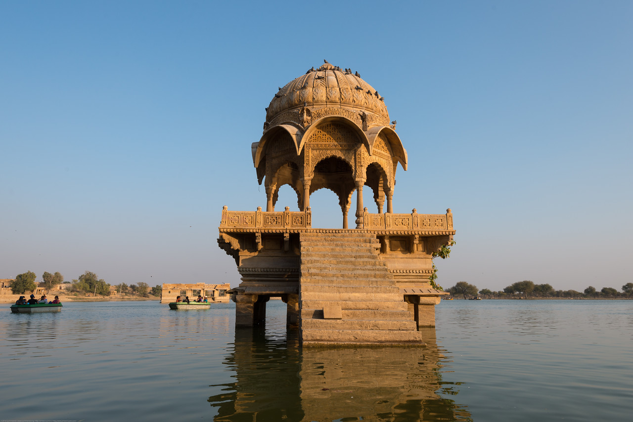 Gadi Sagar, ornate Mughal style sandstone buildings. Jaisalmer, Rajasthan, India.