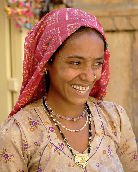 Street shot of the lady in Jaisalmer City, Rajasthan, India. South Asia.