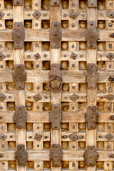 Wooden door. The Jaisalmer Fort, Rajasthan, India. South Asia.