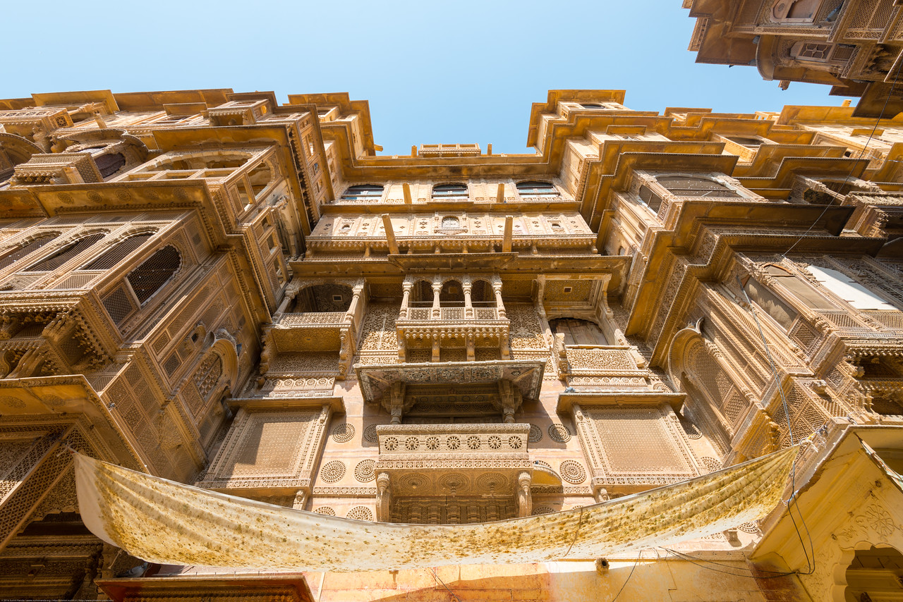 Old haveli (houses) in Jaisalmer, Rajasthan, India.