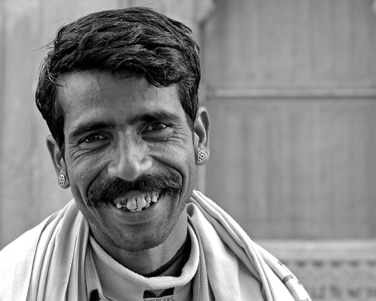 Street shot of a man in Jaisalmer City, Rajasthan, India. South Asia.