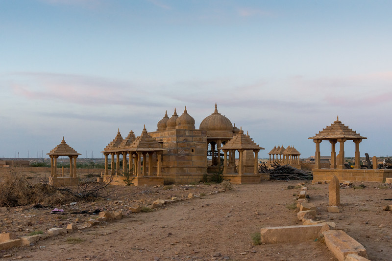 Vyas Chatri, Jaisalmer, Rajasthan, India is still in use as cremation grounds. Wood is kept piled up and ready for a funeral. Hindus believe in the soul being indestructible; and that death symbolises end of the existence of a person's physical being, but the start of a new journey for the soul. This soul then reincarnates in some other life form, and passes through the same cycle of taking birth, growing and eventually meeting death- only to begin the cycle afresh. Cremation of a person's dead body is therefore, supposed to rid the departed soul of any attachments to the body it previously resided in.