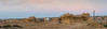 Panoramic view at Sunset point, Vyas Chatri, Jaisalmer, Rajasthan, India. There are two groups of Cenotaphs (Vyas Chhattri for Brahmins and Bada Bagh for the royal families) situated at the end of town giving a spectacular view of the Jaisalmer Fort and the Sunset opposite it. Jaisalmer, Rajasthan, India.