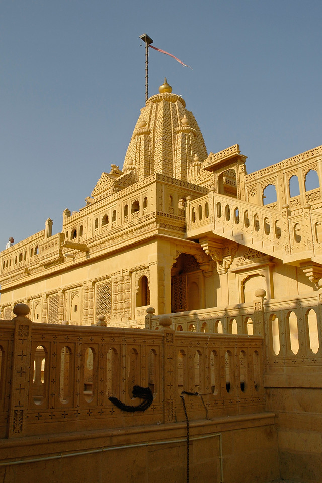 Lodurva Jain Temples, Jaisalmer. On the way to Sam Desert, one comes across a group of fine Jain temples which were built in the 12th to 15th century. The medieval Lodurva temples located at a distance of 15 kilometer are beautifully carved structures northwest of the Jaisalmer city. The history of Lodurva is older than that of Jaisalmer. In fact it was here that the Bhatti Rajputs reigned for a long time before setting up capital at Jaisalmer. Jaisalmer City, Rajasthan, India.