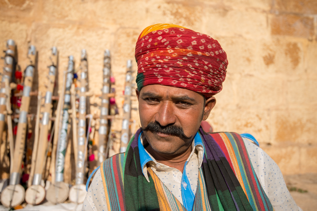 Portrait of a musician in Jaisalmer, Rajasthan, India.