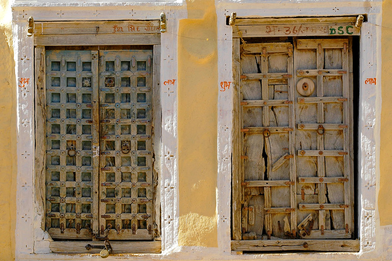 Twin doors.<br /> <br /> Wooden door. The Jaisalmer Fort, Rajasthan, India. South Asia.
