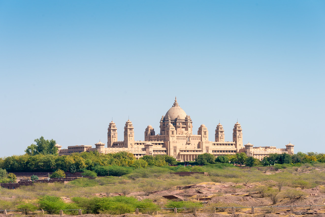 Umaid Palace seen from a distance at Jodhpur, Rajasthan, India.