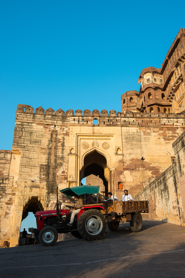 Tractor supplying material to Mehrangarh Fort, Jodhpur, Rajasthan, India.