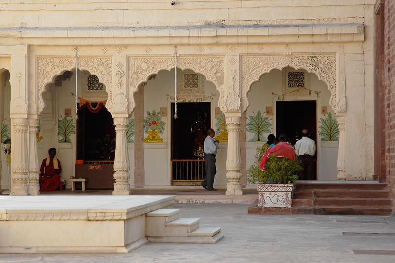 Temple inside the Mehrangarh Fort, Jodhpur. The Fort was built by Maharaja Man Singh in 1806. Jodhpur, Rajasthan, Western India.
