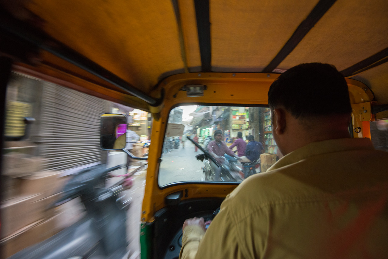 Zipping autorickshaw in the narrow streets of Jodhpur, Rajasthan, India.