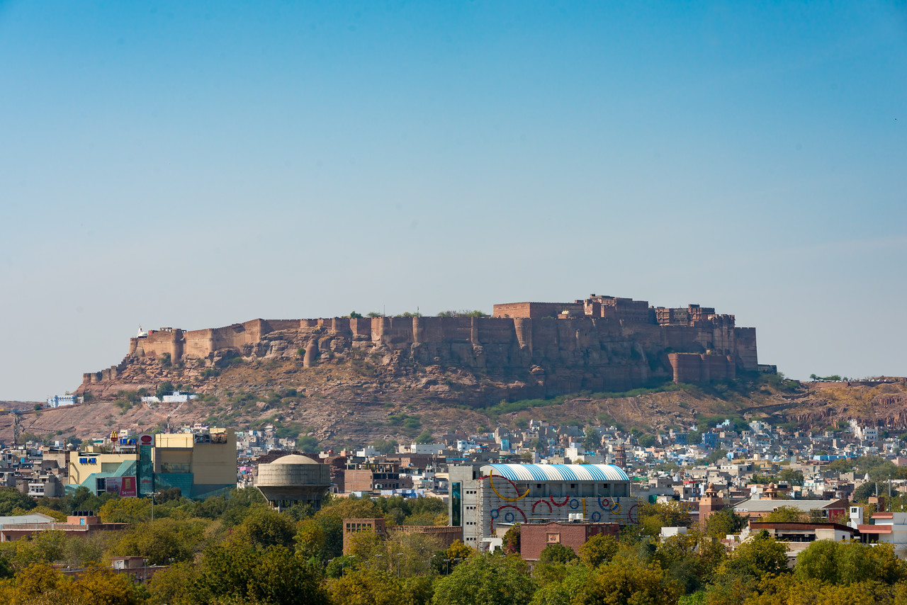 Jodhpur Fort seen from a distance at Jodhpur, Rajasthan, India.