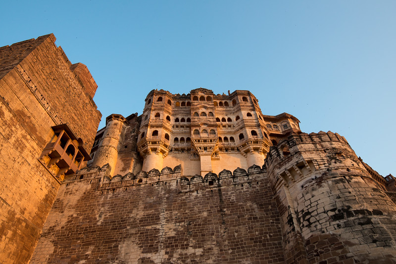 Setting Sun evening yellow light on Mehrangarh Fort, Jodhpur, Rajasthan, India.