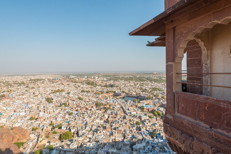 View of the blue-city, Jodhpur from the heights of Mehrangarh Fort, Jodhpur, Rajasthan, India