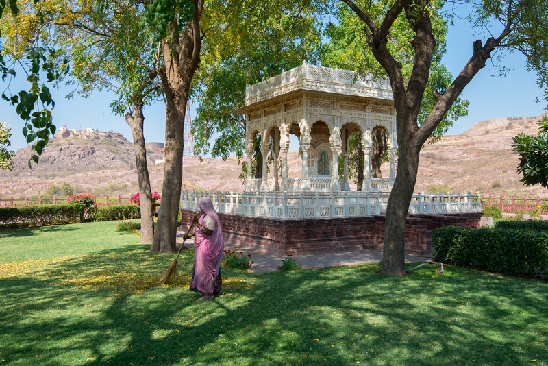 Lawns at Jaswant Thada, Jodhpur, Rajasthan, Western India.