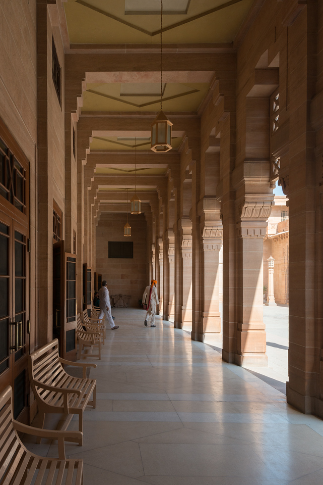 Passages at the Umaid Bhawan Palace (Chittar Palace) Museum. The palace was built by Maharaja Umaid Singh and the construction work was completed in 1943. The Palace was built to provide employment to thousands of people during the time of famine.