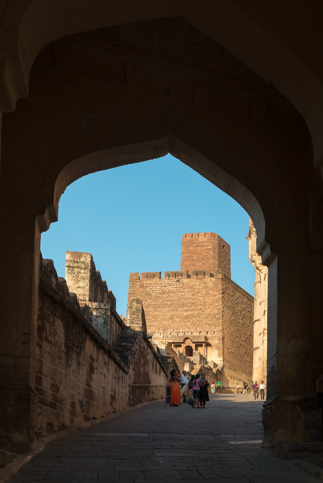 Large passages leading to the top of Mehrangarh Fort, Jodhpur, Rajasthan, India.