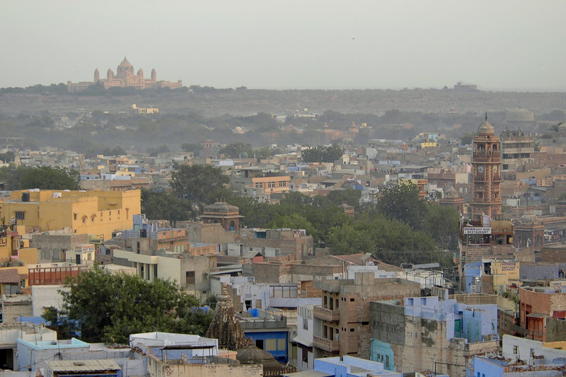 View of Jodhpur city including the Clock Tower located in the heart of the city. Jodhpur is a very popular places for tourists to experience life in Rajasthan, India.