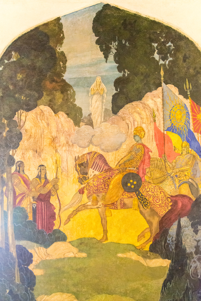 Murals, paintings and other exhibits at the Umaid Bhawan Palace Museum. Built by Maharaja Umaid Singh, construction  was completed in 1943. Glass, porcelain wares, memorabilia, and information on the building of the palace are part of the exhibits.