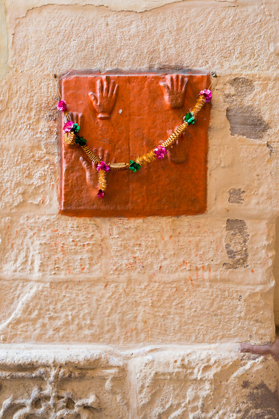 Sati handprints: Fifteen Jodhpur queens left their handprints before going to their fiery death, Mehrangarh Fort, Jodhpur, Rajasthan, India.