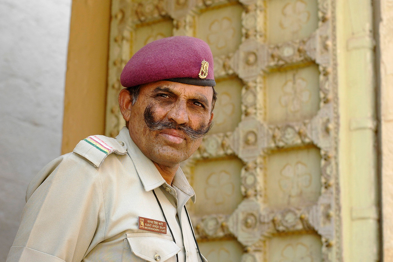 Security guard in Mehrangarh Fort, Jodhpur. Jodhpur, Rajasthan, Western India.