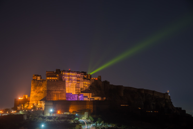 Mehrangarh Fort, Jodhpur, Rajasthan, India in the evening.