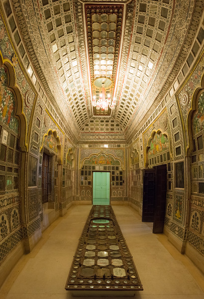 Sheesh Mahal (Mirror Palace): Glass and mirrors used abundantly in what is today Mehrangarh Fort Museum, Jodhpur, Rajasthan, India.