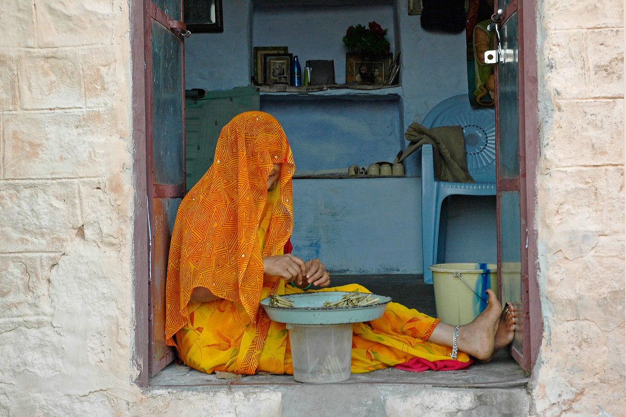Part of daily life in Jodhpur city. The lady who is a daughter-in-law sorting the tobacco leaves while sitting at the entrance to the small home. Jodhpur is a very popular places for tourists to experience life in Rajasthan, India.