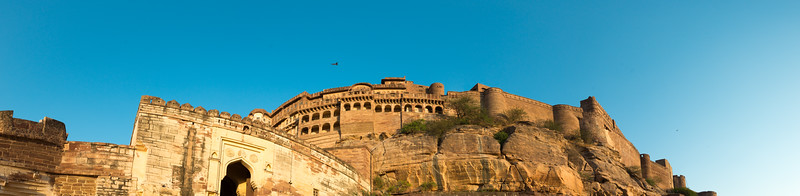 Panoramic view of Mehrangarh Fort, in the evening, Jodhpur, Rajasthan, India