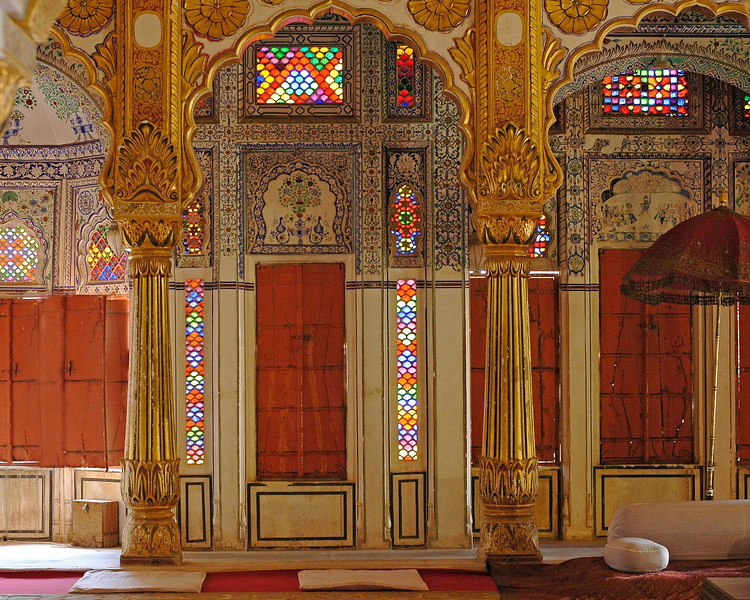 Royal sitting area and inside of Mehrangarh Fort, Jodhpur.