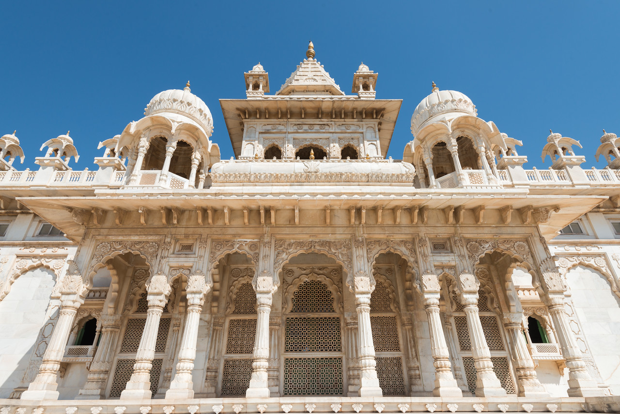 Front view of Jaswant Thada, 1899, cenotaph of Maharaja Jaswant Singh II Jodhpur (1873-1896), Rajasthan, Western India.