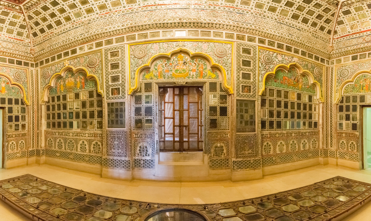 Panoramic view inside Sheesh Mahal (Mirror Palace): Glass and mirrors used abundantly in what is today Mehrangarh Fort Museum, Jodhpur, Rajasthan, India.