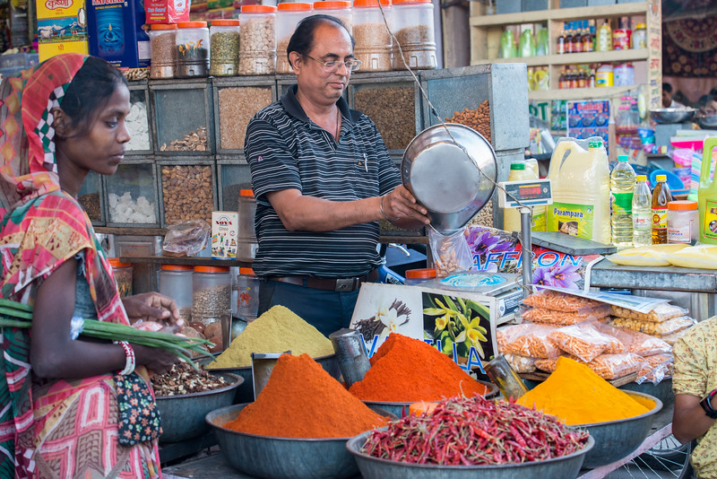 Spice market at Ghantaghar (Clock Tower), Jodhpur, Rajasthan, India.