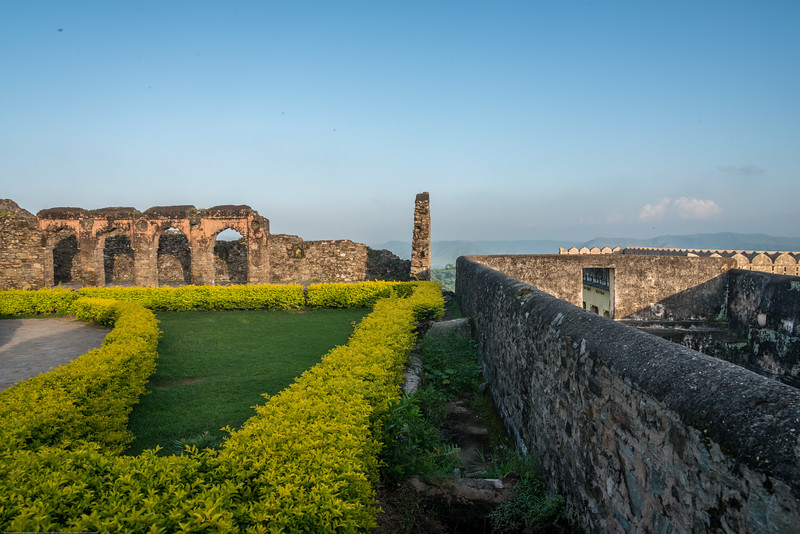 Green lawns in the Fort. Kumbhalgarh Fort located on the westerly range of Aravalli Hills, in the Rajsamand District of Rajasthan state in western India is a Mewar fortress. It is a World Heritage Site included in Hill Forts of Rajasthan as per UNESCO. Built during the course of the 15th century by Rana Kumbha and enlarged through the 19th century, Kumbhalgarh is also the birthplace of Maharana Pratap, the great king and warrior of Mewar.