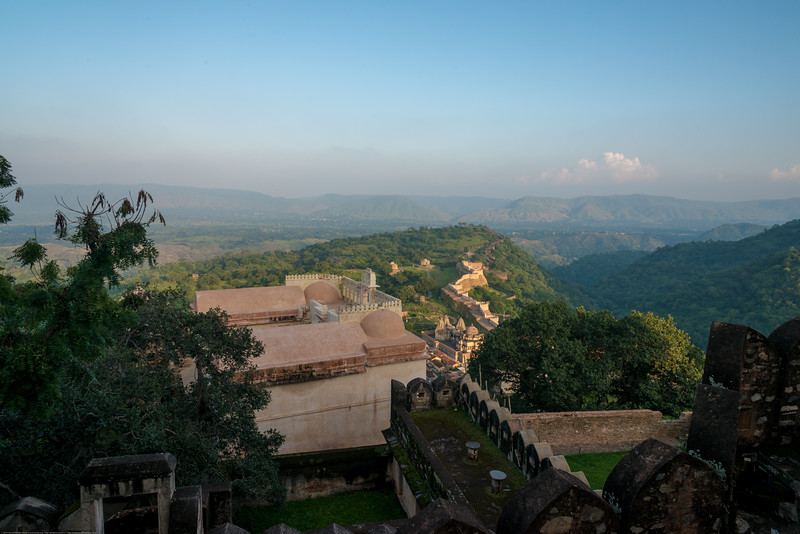 View from the top of the Fort. Kumbhalgarh Fort located on the westerly range of Aravalli Hills, in the Rajsamand District of Rajasthan state in western India is a Mewar fortress. It is a World Heritage Site included in Hill Forts of Rajasthan as per UNESCO. Built during the course of the 15th century by Rana Kumbha and enlarged through the 19th century, Kumbhalgarh is also the birthplace of Maharana Pratap, the great king and warrior of Mewar.