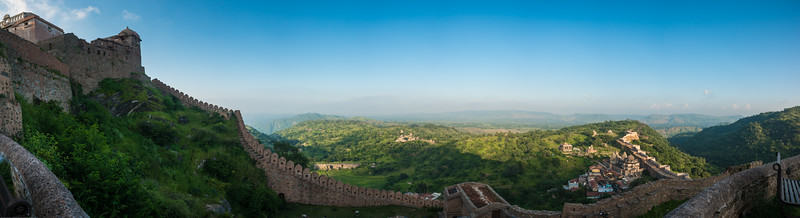 Panoramic aerial view of a portion of the Kumbhalgarh wall. Kumbhalgarh Fort located on the westerly range of Aravalli Hills, in the Rajsamand District of Rajasthan state in western India is a Mewar fortress. It is a World Heritage Site included in Hill Forts of Rajasthan as per UNESCO. Built during the course of the 15th century by Rana Kumbha and enlarged through the 19th century, Kumbhalgarh is also the birthplace of Maharana Pratap, the great king and warrior of Mewar.