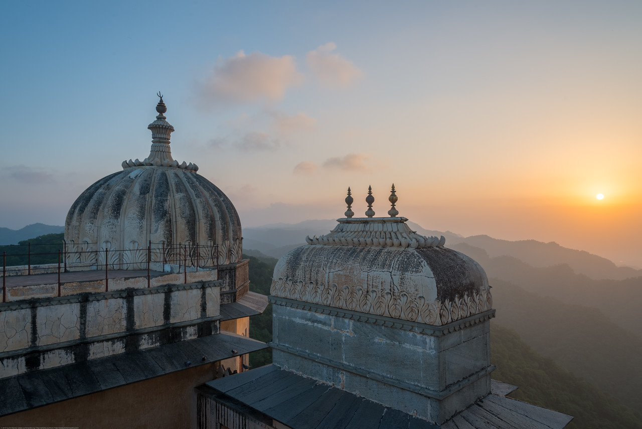 Top of Kumbhalgarh Fort. The fort is located on the westerly range of Aravalli Hills, in the Rajsamand District of Rajasthan state in western India is a Mewar fortress. It is a World Heritage Site included in Hill Forts of Rajasthan as per UNESCO. Built during the course of the 15th century by Rana Kumbha and enlarged through the 19th century, Kumbhalgarh is also the birthplace of Maharana Pratap, the great king and warrior of Mewar.