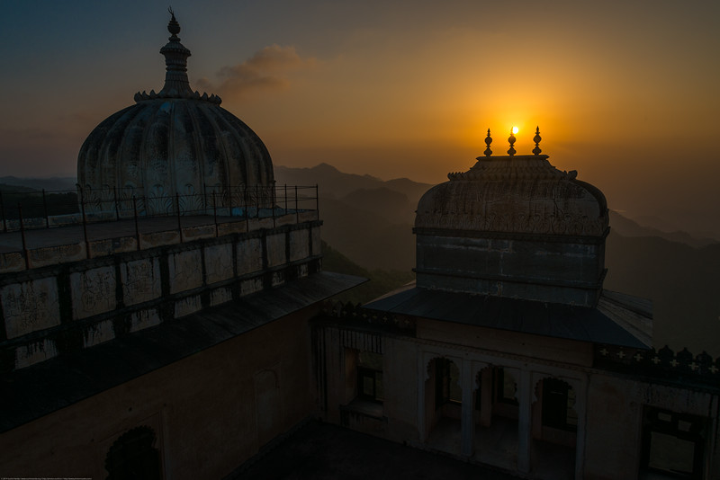 Ariel Sunset view from the Fort. Kumbhalgarh Fort located on the westerly range of Aravalli Hills, in the Rajsamand District of Rajasthan state in western India is a Mewar fortress. It is a World Heritage Site included in Hill Forts of Rajasthan as per UNESCO. Built during the course of the 15th century by Rana Kumbha and enlarged through the 19th century, Kumbhalgarh is also the birthplace of Maharana Pratap, the great king and warrior of Mewar.