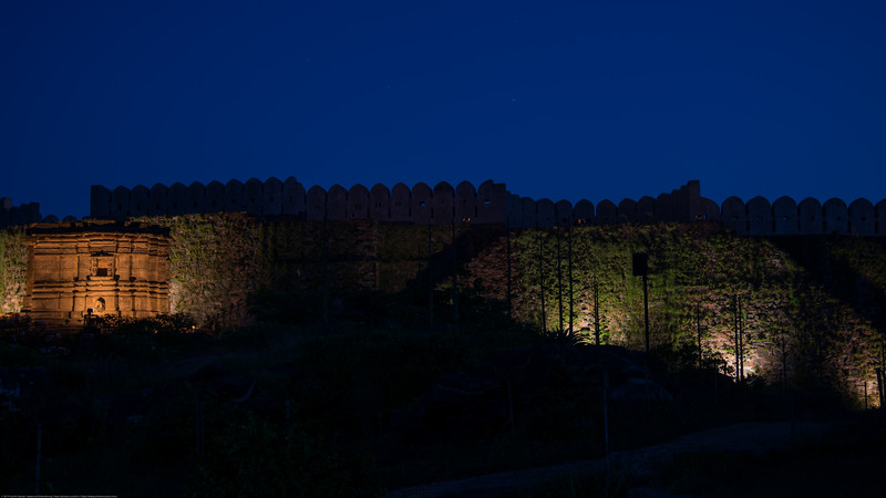 Sound and light show at the Kumbhalgarh Fort. The fort located on the westerly range of Aravalli Hills, in the Rajsamand District of Rajasthan state in western India is a Mewar fortress. It is a World Heritage Site included in Hill Forts of Rajasthan as per UNESCO. Built during the course of the 15th century by Rana Kumbha and enlarged through the 19th century, Kumbhalgarh is also the birthplace of Maharana Pratap, the great king and warrior of Mewar.