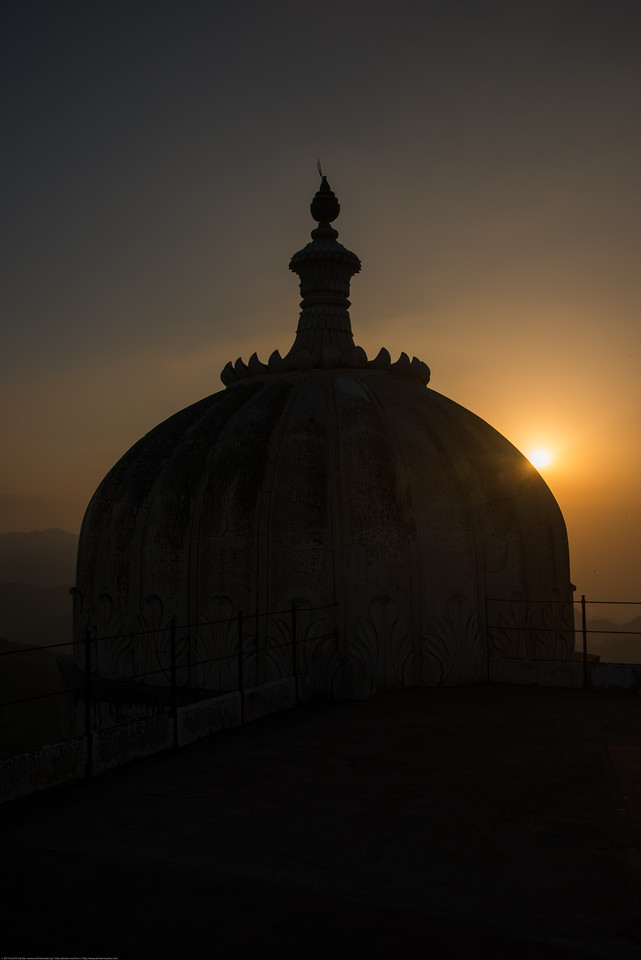 Sunset at the Kumbhalgarh Fort. <br /> The Fort is located on the westerly range of Aravalli Hills, in the Rajsamand District of Rajasthan state in western India is a Mewar fortress. It is a World Heritage Site included in Hill Forts of Rajasthan as per UNESCO. Built during the course of the 15th century by Rana Kumbha and enlarged through the 19th century, Kumbhalgarh is also the birthplace of Maharana Pratap, the great king and warrior of Mewar.