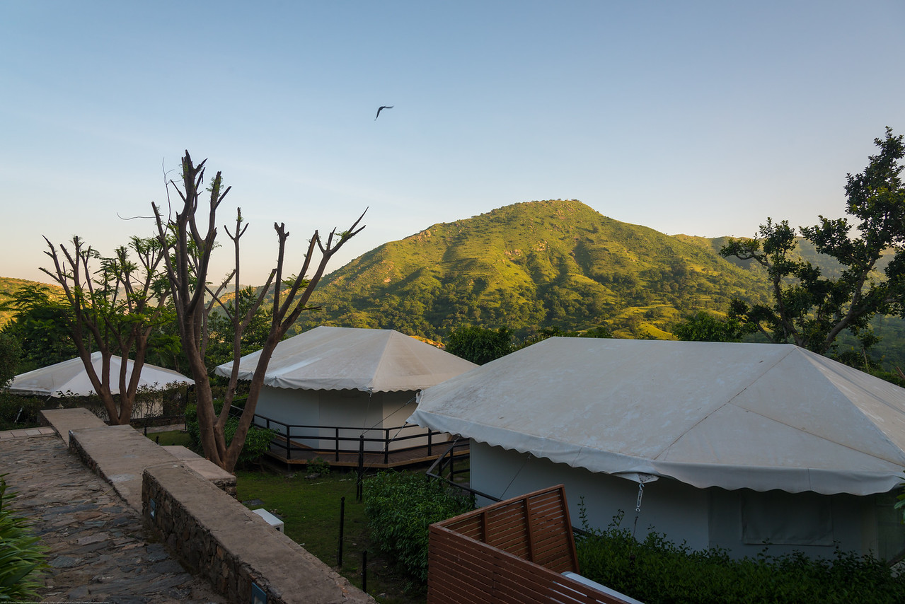 Tents at the Club Mahindra Kumbhalgarh Resort. The resort is located quite near the majestic Kumbhalgarh Fort and is inspired by Rajputana architecture, while combining elegance with modern comforts for a memorable Rajput era style holiday.