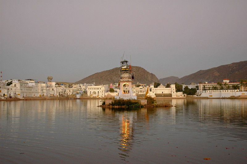 The Pushkar lake is surrounded by hills on three sides and desert on the other side. The cave of Saint Agasthya was located on the snake mountain here. There is one belief that Kalidasa, the Indian counterpart of Shakespeare, had this place as his locale for his Sanskrit drama, Shakuntalam. According to a legend, the lake was formed when Lord Brahma dropped a lotus and wanted to perform a yagna. It has world's only temple of Lord Bramha (God of Creation). The Brahma temple located in Pushkar, Rajasthan is one of the important Hindu pilgrim centre.