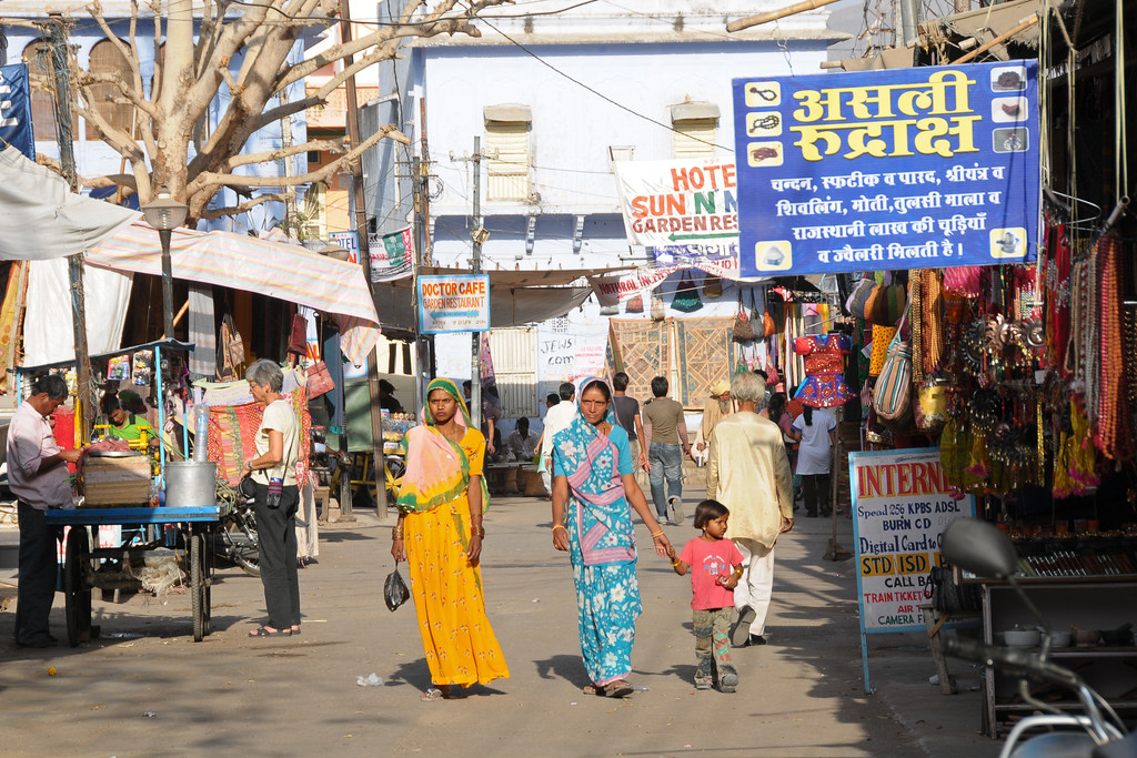 Street scenes at Pushark, RJ.<br /> The town of Pushkar is located 14 km North West of Ajmer. Pushkar is one of the oldest cities of India. It  has in recent years become a popular destination for foreign tourists. Pushkar, Rajasthan, India.