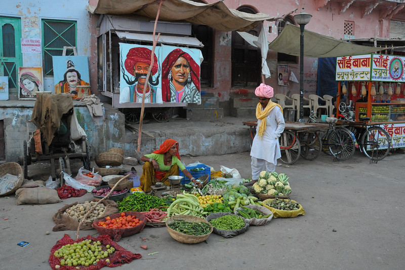 Vegetable vendor on the street of Pushkar, RJ.<br /> <br /> The town of Pushkar is located 14 km North West of Ajmer. Pushkar is one of the oldest cities of India. It  has in recent years become a popular destination for foreign tourists. Pushkar, Rajasthan, India.