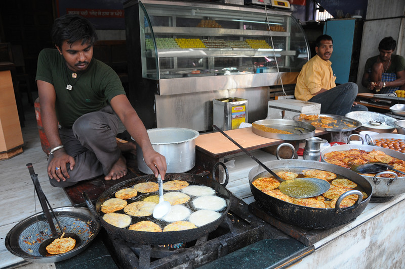 Fresh food being cooked in stalls at Pushkar.<br /> <br /> The town of Pushkar is located 14 km North West of Ajmer. Pushkar is one of the oldest cities of India. It  has in recent years become a popular destination for foreign tourists. Pushkar, Rajasthan, India.