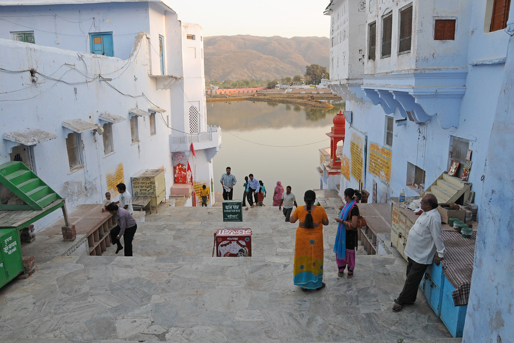 View of Pushkar Lake from the ghats.<br /> <br /> The town of Pushkar is located 14 km North West of Ajmer. Pushkar is one of the oldest cities of India. It  has in recent years become a popular destination for foreign tourists. Pushkar, Rajasthan, India.