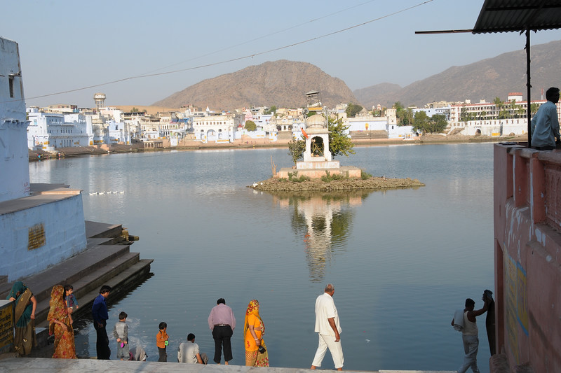 Brahma Temple in Pushkar Lake, Rajasthan.<br /> <br /> The town of Pushkar is located 14 km North West of Ajmer. Pushkar is one of the oldest cities of India. It  has in recent years become a popular destination for foreign tourists. Pushkar, Rajasthan, India.