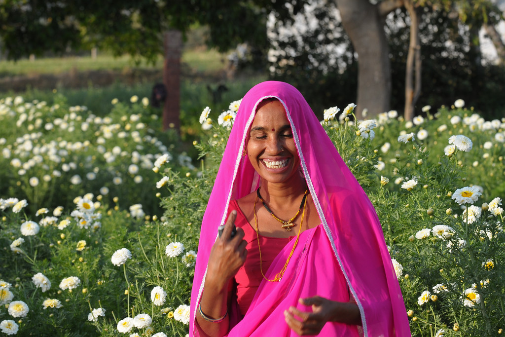 Wife of Sayar Singh at their farm in Chamunda Matha Road, Pushkar.<br /> <br /> The town of Pushkar is located 14 km North West of Ajmer. Pushkar is one of the oldest cities of India. It  has in recent years become a popular destination for foreign tourists. Pushkar, Rajasthan, India.